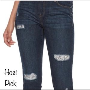 JUICY COUTURE Skinny Mid Rise Embellished Jeans 4